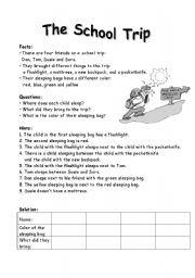 school trip theme brainteaser easier esl worksheet by mariong. Black Bedroom Furniture Sets. Home Design Ideas