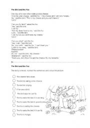 English Worksheets: The Bird and the Fox