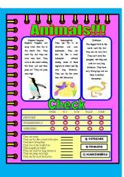 English Worksheets: Animals descriptions!