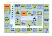 English Worksheet: Board Game - Sports related questions and help sheet - Part 1/2