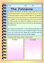English Worksheets: The Johnsons
