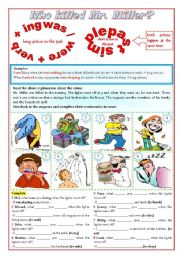 English Worksheets: Who killed Mr. Miller? (past continuous) ***fully editable