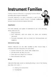 English worksheets: Instrument Families