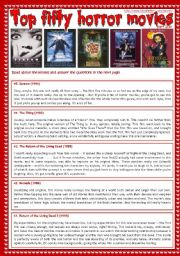 English Worksheet: Top fifty horror movies (part 2/10) - reading comprehension, vocabulary and comparatives [3 pages] ***fully editable