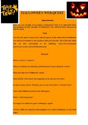 english worksheets halloween web quest - Halloween Web Quest