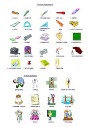 School stationery and school subjects