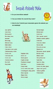 English Worksheets: Sounds animals make