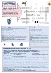 English Worksheet: MOVIES CROSSWORD