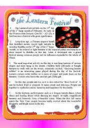 English Worksheets: the Lantern Festval