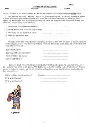 English Worksheet: Movers Exam Practice