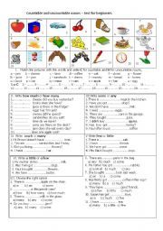 English Worksheets: countable and uncountable nouns- test for beginners