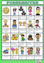 English Worksheet: POSSESSIVE DETERMINERS + KEY