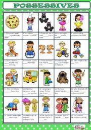English Worksheets: POSSESSIVE DETERMINERS + KEY