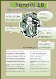 Worksheets Sonnet Worksheet english worksheet sonnet 18 by shakespeare