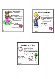 English Worksheets: Cards for the student of the week/day