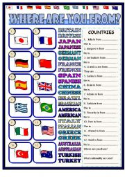 English Worksheet: Where are you from? ( the key included, editable)