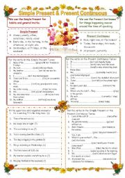 English Worksheet: Simple Present & Present Continuous