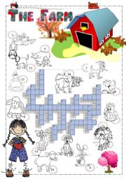 English Worksheet: THE FARM - CROSSWORD ACTIVITY  WITH THE FARM ANIMALS