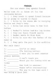 English Worksheet: Friends Activity - The one where Joey speaks French
