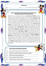 English Worksheet: reading comprehension about New Zealand
