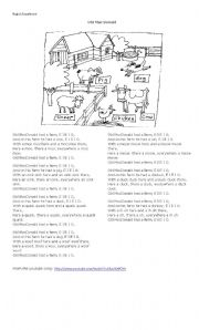 English Worksheet: Old Mc Donald (song & exercises)