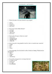 English Worksheets: Apocalypto - Questions based on the movie