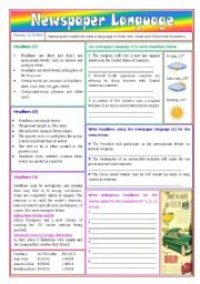 English Worksheets: Newspaper language - headlines (directions and exercises) - keys included [2 pages] ***fully editable