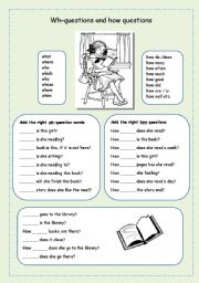 English Worksheets: Wh-questions and how questions