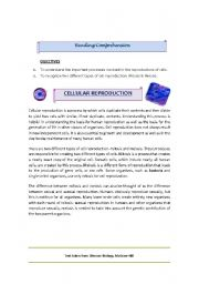 English Worksheets: Cellular Reproduction
