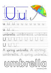 English Worksheets: Worksheets and reuploaded Learning Letters Uu and Vv: 8 worksheets