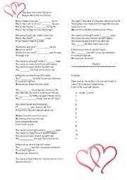 English Worksheet: Because You loved Me