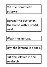 English Worksheet: Mr Bean Makes a Sandwich ~ Instructions