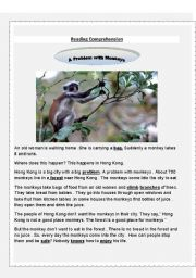 English Worksheets: Reading comprehension problem with monkeys