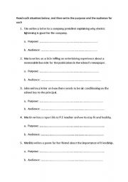 English Worksheets:  Purpose and Audience