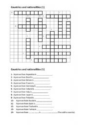 contries and nationalities puzzle
