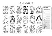 English Worksheets: animals worksheet & colouring page