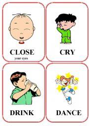 English Worksheets: set of action flashcards (1/2)