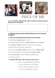 English Worksheet: PIECE OF ME - britney spears