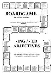 English Worksheet: Boardgame: - ing / -ed adjectives (editable, key)