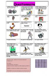English Worksheet: A questionnaire about learning styles such as visual,auditory