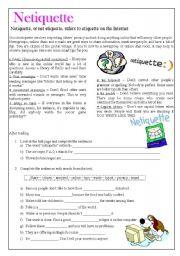 English Worksheet: Netiquette