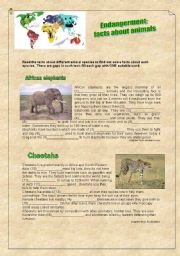 English Worksheets: Endangerment: facts about animals