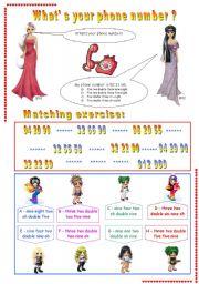 Telephone numbers worksheets