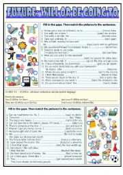 English Worksheet: Will or going to exercises (the key included)