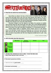 English Worksheet: Harry Potter and Friends