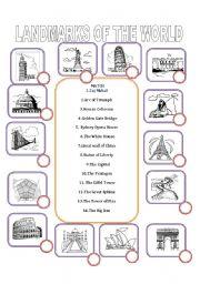 English Worksheet: Landmarks of the world