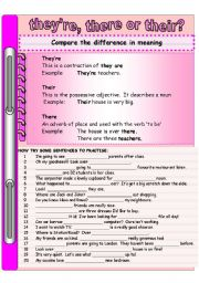 English Worksheets: There, they�re or their?
