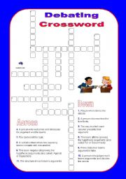 English Worksheets: Debate Crossword