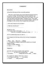 English Worksheets: reading-writing worksheet 2
