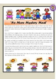 English Worksheet: No More Mystery Meat / Reading Comprehension